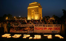 Candles in front of India gate