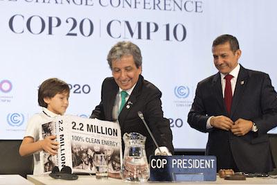 Orion entrega peticion en COP20